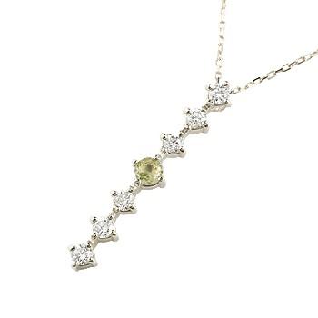 ペリドット ダイヤモンド ネックレス トップ 7石 ペンダント ダイヤ ホワイトゴールドk18 アンティーク風 18金 チェーン 人気 8月誕生石 宝石 送料無料