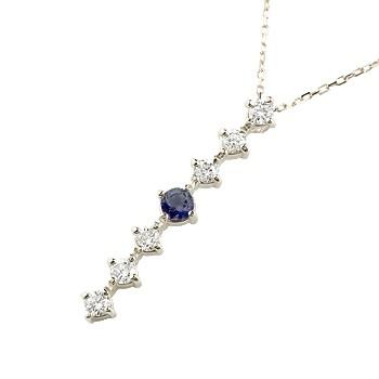 サファイア ダイヤモンド ネックレス 7石 ペンダント ダイヤ ホワイトゴールドk18 アンティーク風 18金 チェーン 人気 9月誕生石 宝石 送料無料