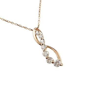 ダイヤモンド ネックレス トップ ペンダント ダイヤ 0.20ct ピンクゴールドk18 18金 チェーン 人気 送料無料