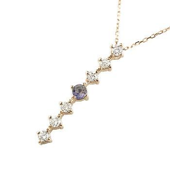 アイオライト ダイヤモンド ネックレス トップ 7石 ペンダント ダイヤ ピンクゴールドk18 アンティーク風 18金 チェーン 人気 宝石 送料無料