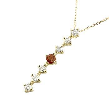 ガーネット ダイヤモンド ネックレス トップ 7石 ペンダント ダイヤ イエローゴールドk18 アンティーク風 18金 チェーン 人気 1月誕生石 宝石 送料無料