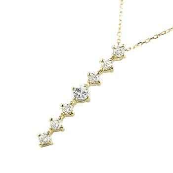 ダイヤモンド ネックレス トップ 7石 ペンダント ダイヤ イエローゴールドk18 アンティーク風 18金 チェーン 人気 送料無料
