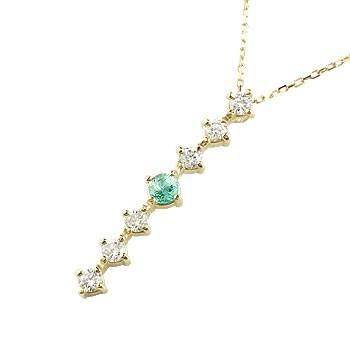 エメラルド ダイヤモンド ネックレス トップ 7石 ペンダント ダイヤ イエローゴールドk18 アンティーク風 18金 チェーン 人気 5月誕生石 宝石 送料無料