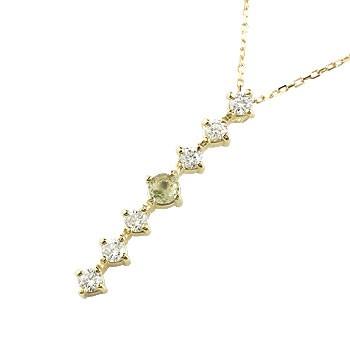 ペリドット ダイヤモンド ネックレス トップ 7石 ペンダント ダイヤ イエローゴールドk18 アンティーク風 18金 チェーン 人気 8月誕生石 宝石 送料無料