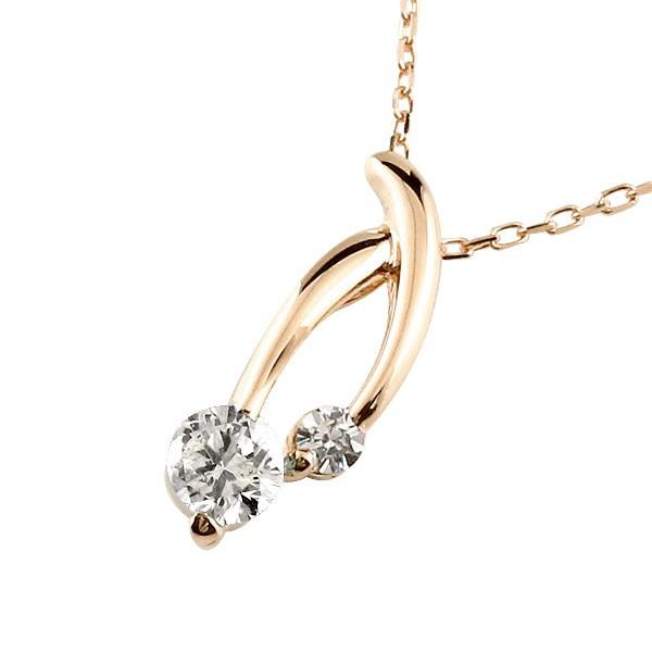 ダイヤモンド ネックレス トップ ダイヤ ペンダント ピンクゴールドk10 チェーン 人気 10金 送料無料