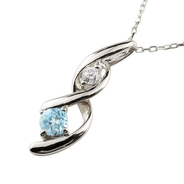 ブルートパーズ ネックレス トップ ダイヤモンド ペンダント ホワイトゴールドk18 チェーン 人気 11月誕生石 18金 宝石 送料無料