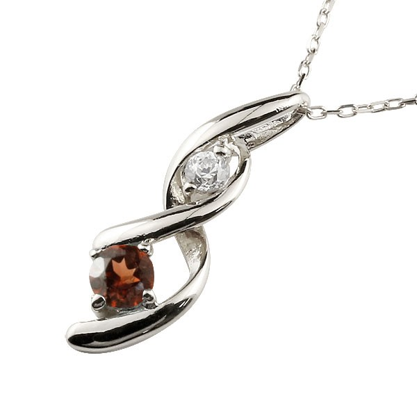 ガーネット ネックレス トップ ダイヤモンド ペンダント ホワイトゴールドk18 チェーン 人気 1月誕生石 18金 宝石 送料無料
