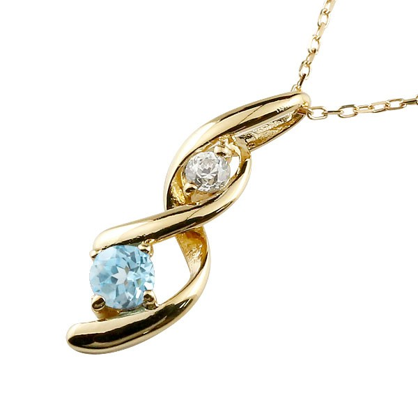 ブルートパーズ ネックレス トップ ダイヤモンド ペンダント イエローゴールドk18 チェーン 人気 11月誕生石 18金 宝石 送料無料