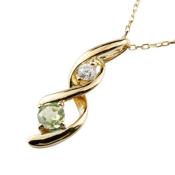 ペリドット ネックレス トップ ダイヤモンド ペンダント イエローゴールドk18 チェーン 人気 8月誕生石 18金 宝石 送料無料