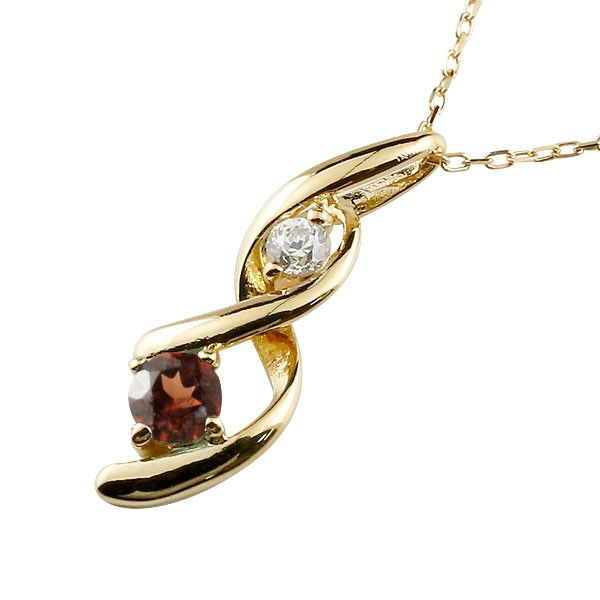 ガーネット ネックレス トップ ダイヤモンド ペンダント イエローゴールドk18 チェーン 人気 1月誕生石 18金 宝石 送料無料
