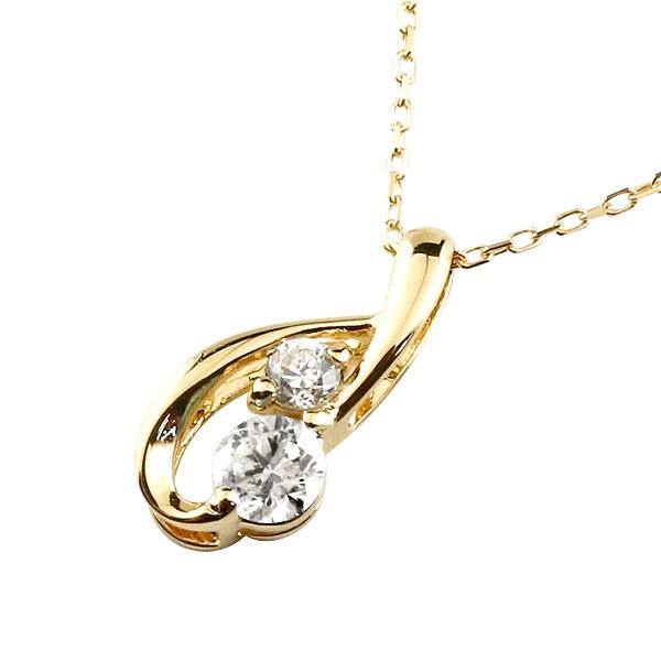 ダイヤモンド イエローゴールドネックレス ダイヤモンド ペンダント ティアドロップ チェーン 人気 4月誕生石 k10 雫 つゆ型 涙型 送料無料