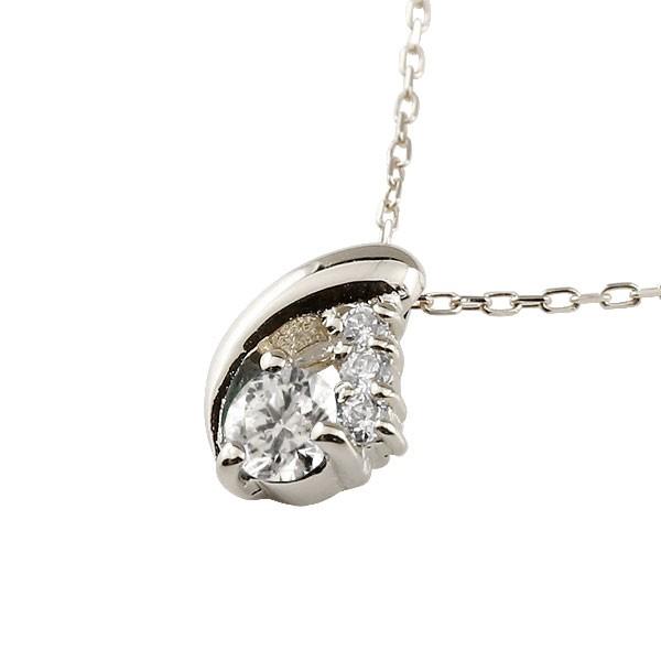 ダイヤモンド ホワイトゴールドネックレス トップ ダイヤモンド ペンダント ティアドロップ チェーン 人気 4月誕生石 k18 雫 つゆ型 涙型 送料無料