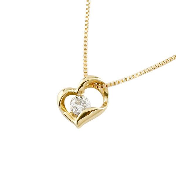 ダイヤモンド オープンハート ネックレス トップ 一粒 イエローゴールドk18 ペンダント チェーン 人気 ダイヤ 18金 送料無料