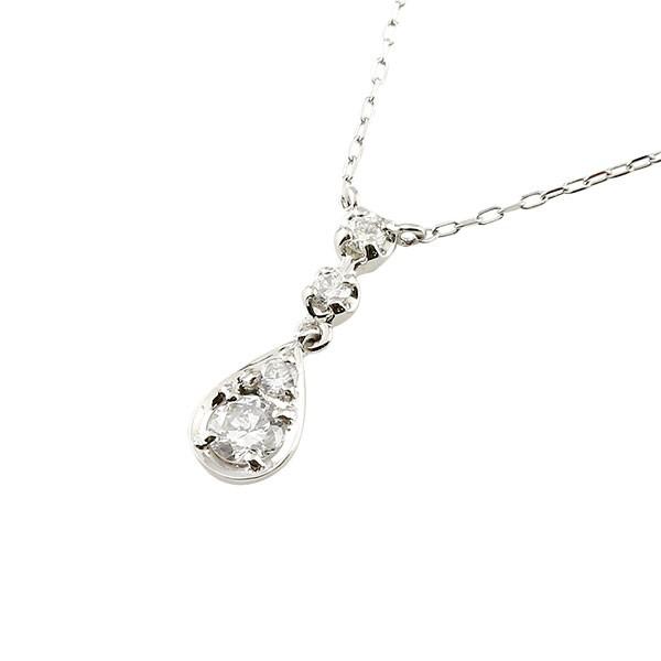 ダイヤモンド ティアドロップ ネックレス 一粒 プラチナ ペンダント チェーン 人気 ダイヤ 雫 つゆ型 涙型 送料無料