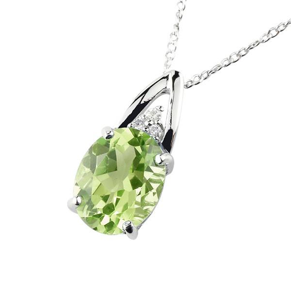 ネックレス ペリドット ペンダント ダイヤモンド プラチナ900 シンプル レディース チェーン pt900 人気 8月誕生石 送料無料