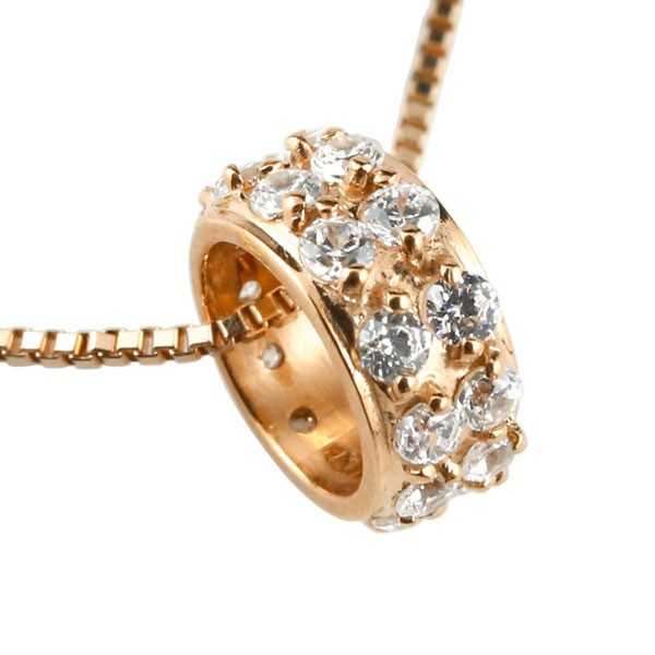ダイヤモンド ペンダントピンクゴールドK18 ダイヤ ネックレス リングネックレス エタニティー 18金 チェーン 人気 送料無料