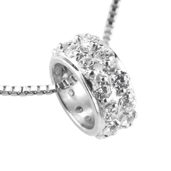 ダイヤモンド ペンダントホワイトゴールドK18 ダイヤ ネックレス リングネックレス エタニティー 18金 チェーン 人気 送料無料
