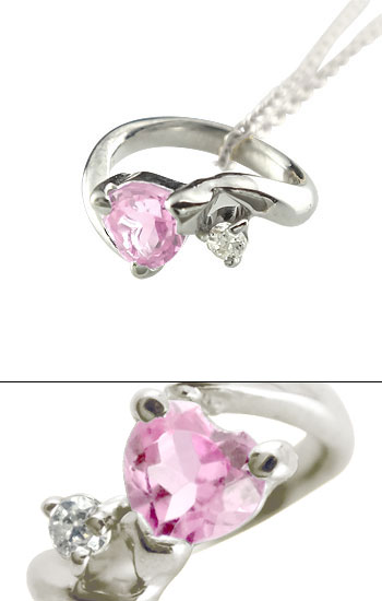 ハートストーン ベビーリング ピンクサファイア ダイヤモンド ネックレス ホワイトゴールドk18 9月誕生石 チェーン 人気 18金 ダイヤ ストレート レディース
