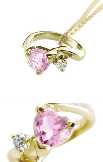 ハートストーン ベビーリング ピンクサファイア ダイヤモンド ネックレス イエローゴールドk18 9月誕生石 チェーン 人気 18金 ダイヤ ストレート レディース