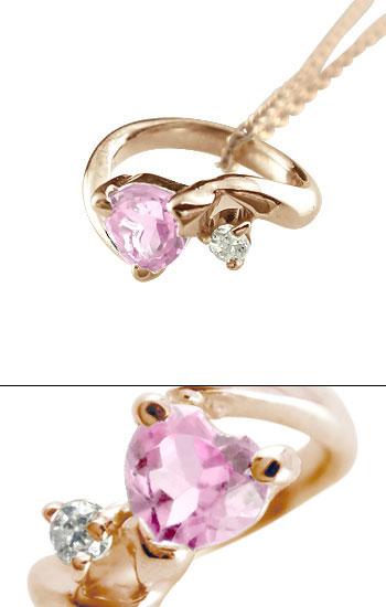 ハートストーン ベビーリング ピンクサファイア ダイヤモンド ネックレス ピンクゴールドk18 9月誕生石 チェーン 人気 18金 ダイヤ ストレート レディース
