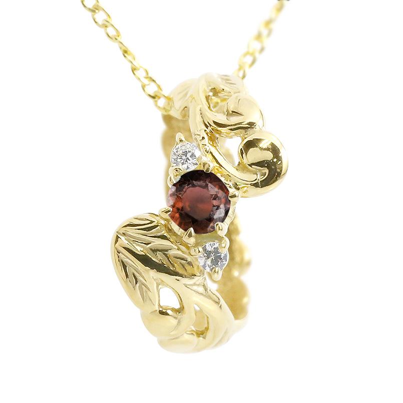ハワイアンジュエリー ネックレス ガーネット ダイヤモンド ベビーリング イエローゴールドk18 チェーン ネックレス レディース 18金 プレゼント 女性