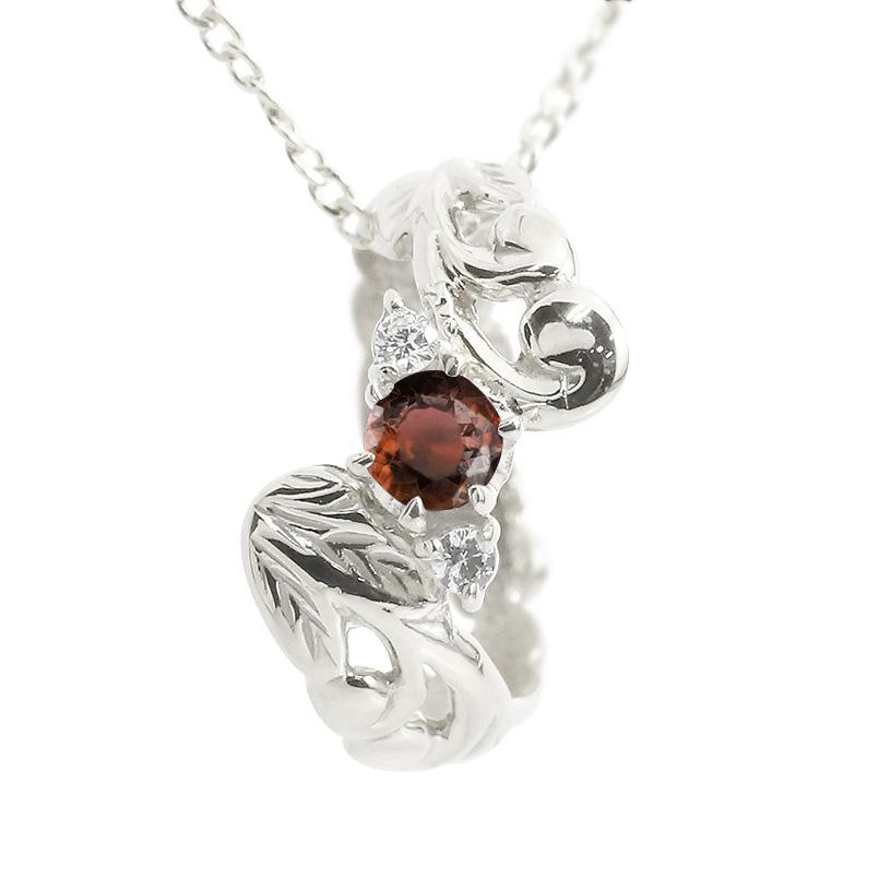 ハワイアンジュエリー プラチナネックレス ガーネット ダイヤモンド ベビーリング チェーン ネックレス レディース pt900 人気 プレゼント 女性