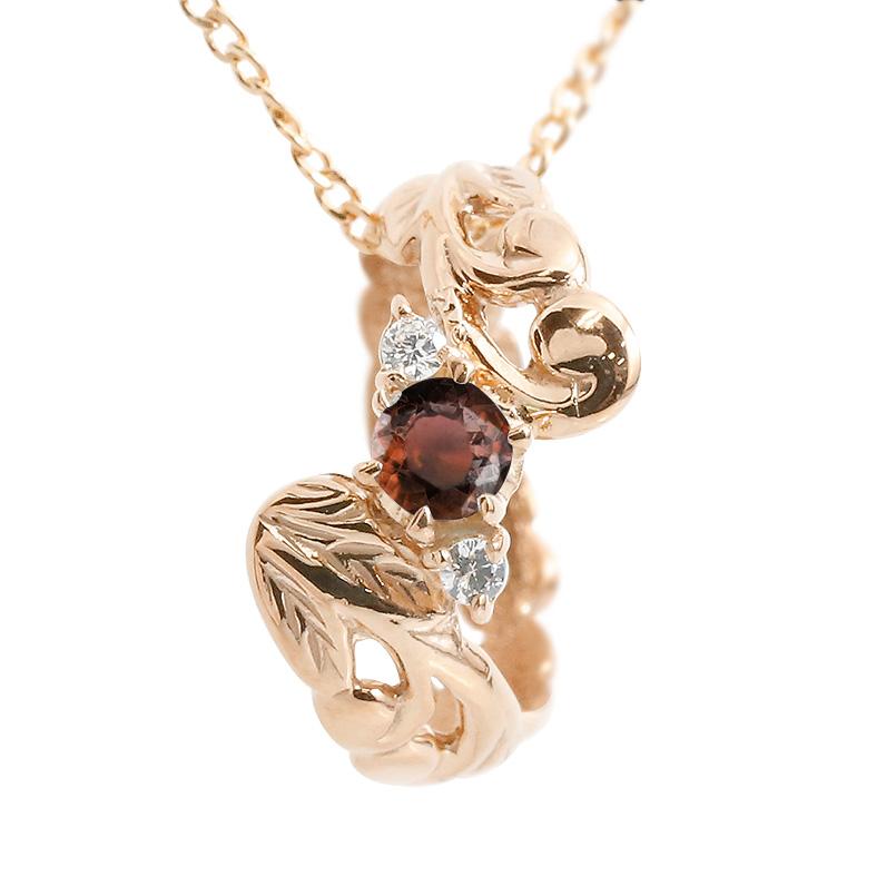 ハワイアンジュエリー ネックレス ガーネット ダイヤモンド ベビーリング ピンクゴールドk18 チェーン ネックレス レディース 18金 プレゼント 女性