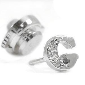 ピンブローチ ラペルピン ダイヤモンド イニシャルブローチプラチナ900 ダイヤ 0.03ct タックピン 送料無料