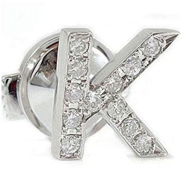 文字 ダイヤモンド イニシャルブローチ プラチナ900 ダイヤモンド タックピン ダイヤ 送料無料