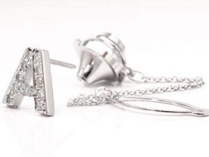 プラチナピンブローチ ダイヤモンド ラペルピン イニシャルブローチ A ダイヤ 0.21ct 人気ブローチ pt900 タックピン 送料無料