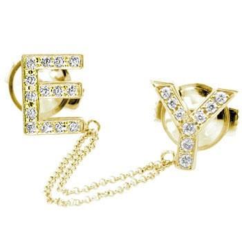 メンズジュエリー ダイヤモンド ピンブローチ ラペルピン イニシャルブローチ E Y イエローゴールドk18 タイタック タイピン タックピン ダイヤ 18金