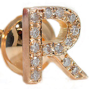 ピンブローチ イニシャルブローチ R ダイヤモンド ラペルピン ダイヤ ピンクゴールド 18金 タックピン 送料無料