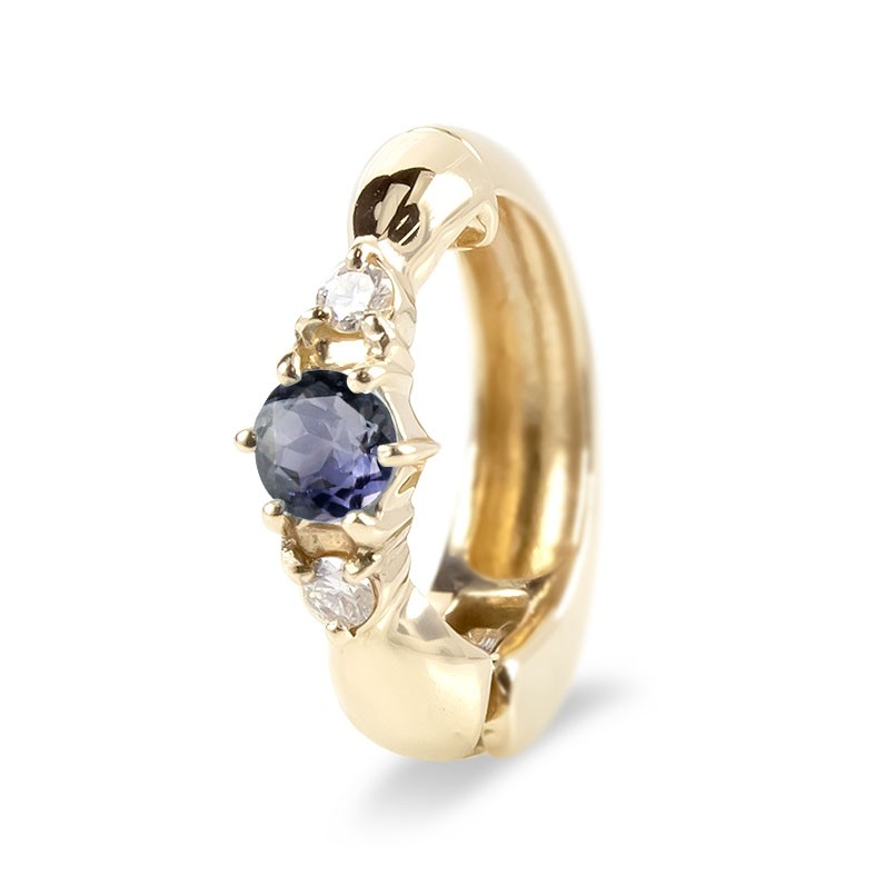 ピアリング 片耳 イヤリング ゴールド アイオライト ダイヤモンド イエローゴールドk10 シンプル レディース ノンホールピアス 女性 最短納期 送料無料