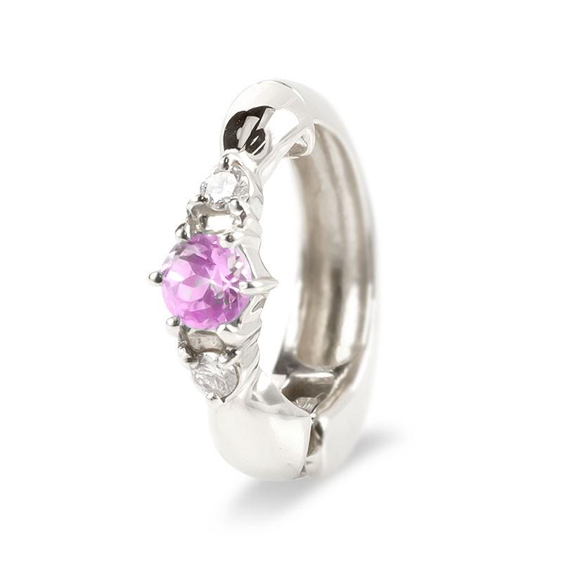 ピアリング 片耳 イヤリング プラチナ ピンクサファイア ダイヤモンド pt900 シンプル レディース ノンホールピアス 9月誕生石 女性 最短納期 送料無料