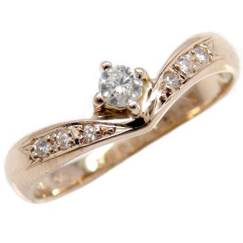 ピンキーリング 鑑定書付 ダイヤモンド リング 指輪 ピンクゴールドK18 一粒 SI 18金 ダイヤモンドリング ダイヤ ストレート