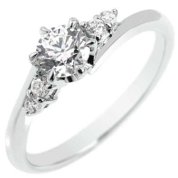 鑑定書付き VS1クラス ホワイトゴールドK18 ダイヤモンド 婚約指輪 エンゲージリング リング 一粒 大粒 ダイヤ ストレート 18金