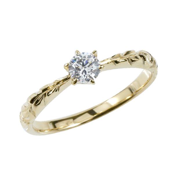 ピンキーリング ハワイアンジュエリー ダイヤモンド リング 一粒 大粒 指輪 イエローゴールドk18 ハワイアンリング 18金 k18yg ダイヤ ストレート