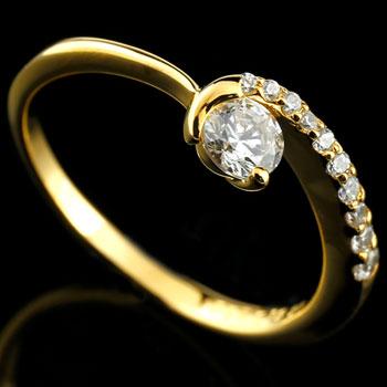 鑑定書付 婚約指輪 エンゲージリング ダイヤモンド イエローゴールドk18 ダイヤ 18金 ストレート レディース ブライダルジュエリー ウエディング 贈り物 誕生日プレゼント ギフト ファッション お返し 妻 嫁 奥さん 女性 彼女 娘 母 祖母 パートナー 送料無料