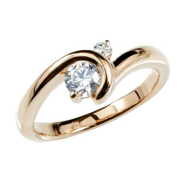 鑑定書付 婚約指輪 エンゲージ ダイヤモンド リング 指輪 大粒 ピンクゴールドk18 ダイヤ 18金 ストレート レディース ブライダルジュエリー ウエディング 贈り物 誕生日プレゼント ギフト ファッション 18k お返し