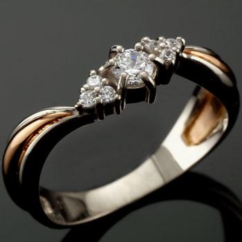 結婚リング SIクラス ダイヤモンド リング 手作り コンビリング ピンキーリング 鑑定書付 プラチナ ダイヤ ダイヤモンドリング 2020 新作 ピンクゴールドk18 送料無料 40%OFFの激安セール ストレート 18k 18金 指輪