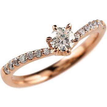 鑑定書付き 婚約指輪 エンゲージリング ダイヤモンド リング ピンクゴールドK18 結婚指輪 一粒 大粒 SI 18金 ダイヤ ストレート レディース ブライダルジュエリー ウエディング 贈り物 誕生日プレゼント ギフト 年末 ファッション 18k Xmas Christmas