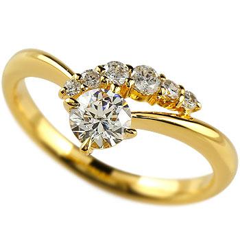 婚約指輪 エンゲージリング ダイヤモンド リング ダイヤ 0.43ct 一粒 大粒 指輪 イエローゴールドK18 18金 ストレート 2.3 贈り物 誕生日プレゼント ギフト ファッション 妻 嫁 奥さん 女性 彼女 娘 母 祖母 パートナー 送料無料
