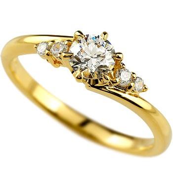 鑑定書付き VVS1クラス イエローゴールドK18 ダイヤモンド 婚約指輪 エンゲージリング リング 一粒 大粒 ダイヤ ストレート 18金 妻 嫁 奥さん 女性 彼女 娘 母 祖母 パートナー 送料無料