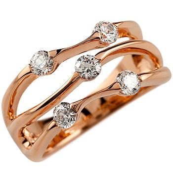 婚約指輪 エンゲージリング ダイヤモンド リング ダイヤ 0.50ct 指輪 幅広リング ピンクゴールドk18 18金 ストレート レディース ブライダルジュエリー ウエディング 贈り物 誕生日プレゼント ギフト 18k 妻 嫁 奥さん 女性 彼女 娘 母 祖母 パートナー 送料無料