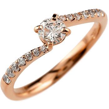 鑑定書付き 婚約指輪 エンゲージリング ダイヤモンド リング ピンクゴールドK18 結婚指輪 一粒 大粒 SI 18金 ダイヤ ストレート レディース ブライダルジュエリー ウエディング 贈り物 ギフト ファッション 18k 妻 嫁 奥さん 女性 彼女 娘 母 祖母 パートナー 送料無料