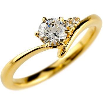 鑑定書付き VVS1クラス イエローゴールドK18 ダイヤモンド 婚約指輪 エンゲージリング リング 一粒 大粒 ダイヤ ストレート