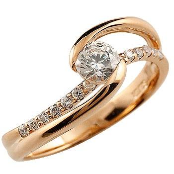 婚約指輪 エンゲージリング ダイヤモンド リング 指輪 ピンクゴールドk18 大粒 ダイヤ 18金 ストレート レディース ブライダルジュエリー ウエディング 贈り物 誕生日プレゼント ギフト ファッション 18k お返し 妻 嫁 奥さん 女性 彼女 娘 母 祖母 パートナー 送料無料