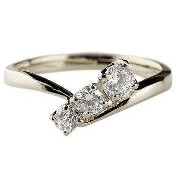 婚約指輪 エンゲージリング ダイヤモンドリング 指輪 ダイヤ スリーストーン トリロジー ホワイトゴールドk18 18金 ストレート レディース ブライダルジュエリー ウエディング 贈り物 誕生日プレゼント ギフト 年末 ファッション 18k Xmas Christmas