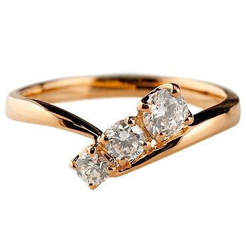 【送料無料】婚約指輪 エンゲージリング ダイヤモンドリング 指輪 ダイヤ スリーストーン トリロジー ピンクゴールドk18 18金 ストレート レディース ブライダルジュエリー ウエディング 贈り物 誕生日プレゼント ギフト 年末 ファッション 18k お返し Xmas Christmas