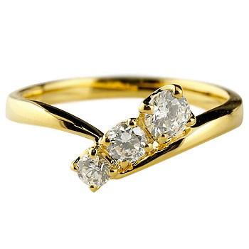 婚約指輪 エンゲージリング ダイヤモンドリング 指輪 ダイヤ スリーストーン トリロジー イエローゴールドk18 18金 ストレート レディース ブライダルジュエリー ウエディング 贈り物 誕生日プレゼント ギフト 年末 ファッション 18k Xmas Christmas